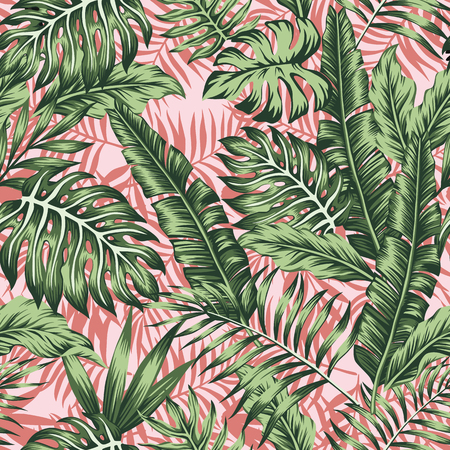 Illustration for Tropical green leaves jungle pink plants background - Royalty Free Image
