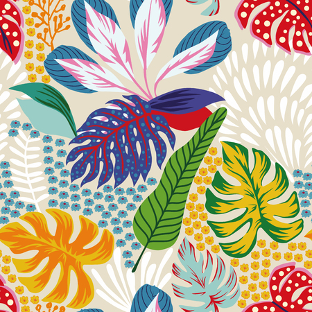 Ilustración de Cartoon illustrations. Abstract color tropical leaves flowers seamless sand background. Trendy pattern vector composition - Imagen libre de derechos