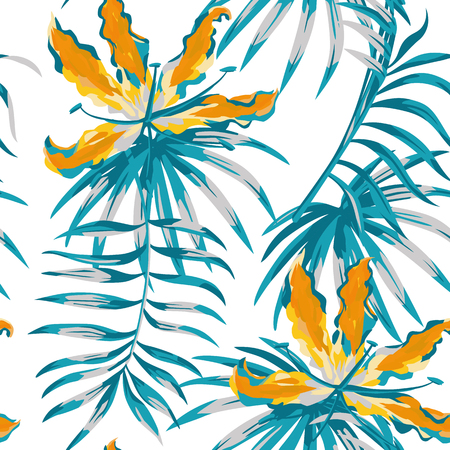 Illustration for Rare tropic flowers orange gloriosa painting blue color palm banana leaves seamless pattern white background - Royalty Free Image