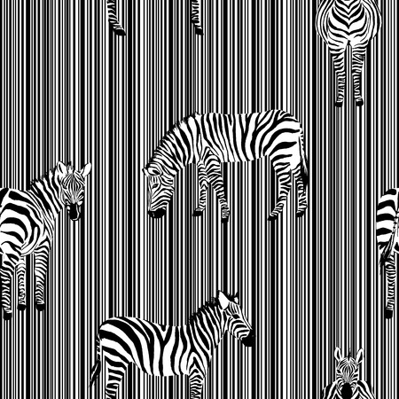 Illustration pour Exotic animal zebra on the black white stripe background seamless illustration pattern vector monochrome wild - image libre de droit