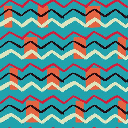 Ilustración de Popular combination of colors hand drawn zigzag rectangle background seamless illustration vector pattern - Imagen libre de derechos