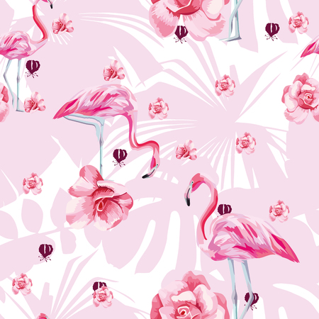 Ilustración de Beauty flat vector bird pink flamingo and flowers roses seamless pattern on the tropical leaves background. Trendy hand drawn bright art illustration - Imagen libre de derechos