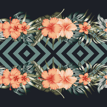 Illustration pour Tropical flowers hibiscus plumeria palm leaves border mirror seamless geometric vector trendy background - image libre de droit