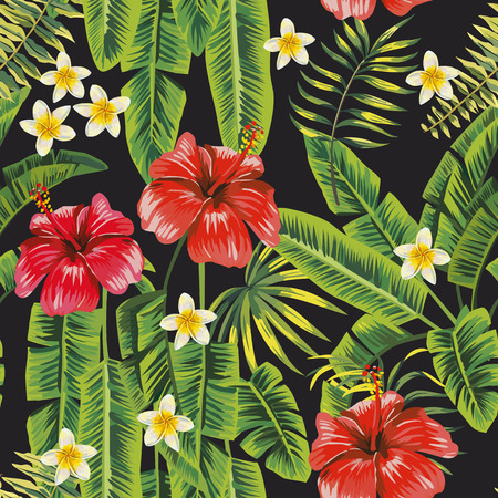 Ilustración de Banana green leaves and red hibiscus, white plumeria (frangipani) flowers seamless pattern black background. Vector botanical compoition - Imagen libre de derechos