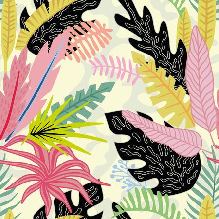 Ilustración de Cartoon flat vector vivid tropical leaves on the beige background. Summer seamless pattern. - Imagen libre de derechos