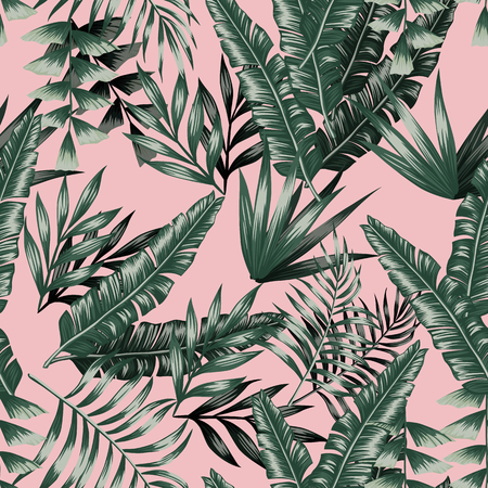 Ilustración de Green tropical palm banana leaves with shadow seamless vector patternon the pink background - Imagen libre de derechos