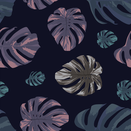 Illustration pour Abstract color tropical monstera leaves seamless pattern on the black background. Modern vector illustration - image libre de droit