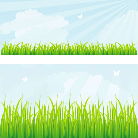 Ilustración de Vector illustration of Summer background with grass - Imagen libre de derechos