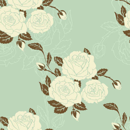 Vector illustration of Roses seamless pattern mural