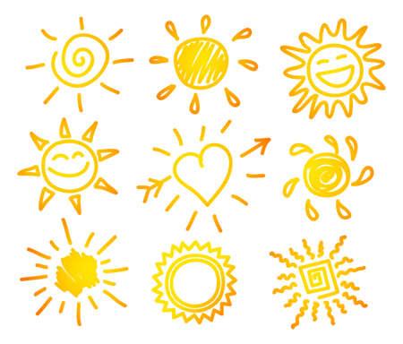 Vector illustration of Hand-draw sun set