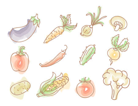 Illustration pour illustration of Vegetables colourful doodles set - image libre de droit