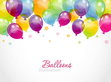 Illustration for Vector illustration of Background with colorful balloons - Royalty Free Image