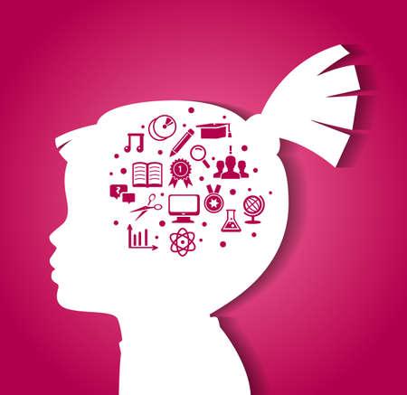 Photo pour illustration of Child head with education icons - image libre de droit