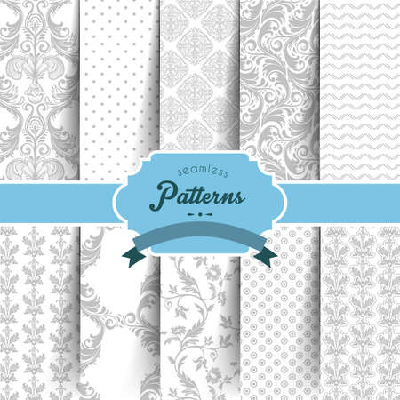 Vector illustration  of Seamless patterns set