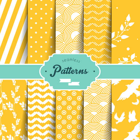 Vector illustration (eps 10) of Seamless patterns set