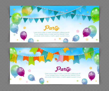 Ilustración de Vector illustration of Party banner with flags and ballons - Imagen libre de derechos