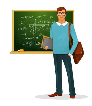 Illustration pour Vector illustration of Male teacher with blackboard - image libre de droit