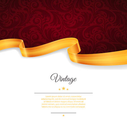 Illustrazione per Vector illustration of Vintage template with gold ribbon - Immagini Royalty Free