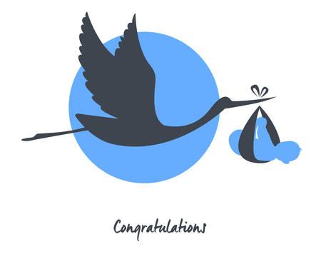 Illustration pour Vector illustration of Stork with baby card - image libre de droit