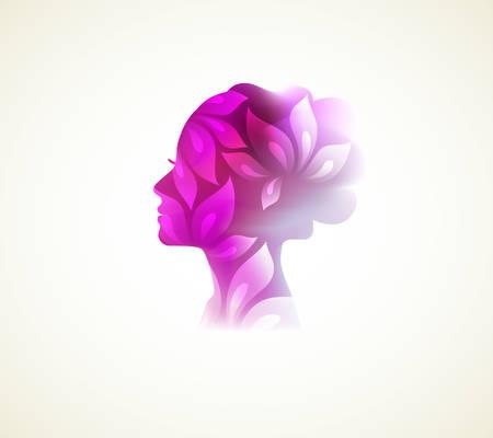 Illustration pour Vector illustration of Beautiful woman silhouette with flower - image libre de droit