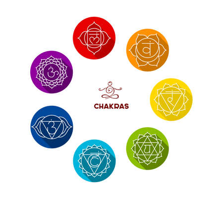 Illustrazione per Vector illustration of Chakra color flat set - Immagini Royalty Free