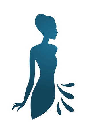 Vector illustration of Isoleted blue woman silhouette