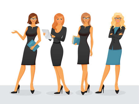 Photo pour Vector illustration of Businesswoman in various poses - image libre de droit