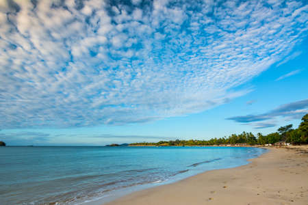 Foto de The west side of Nosy Sakatia has a wonderful beach with golden sand and little Malagasy shacks - Imagen libre de derechos