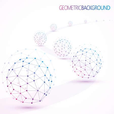 Illustration pour Geometric lattice, the molecules in the circle. - image libre de droit