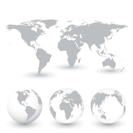 Ilustración de Grey World Map and Globes vector Illustration. - Imagen libre de derechos
