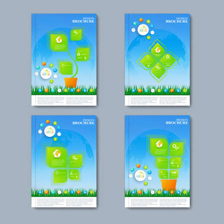 Illustration pour Modern vector set of brochures in the infographics style for your design. - image libre de droit