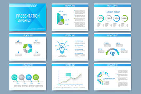Ilustración de Blue set of vector templates for presentation slides. Modern business design with graph and charts. - Imagen libre de derechos