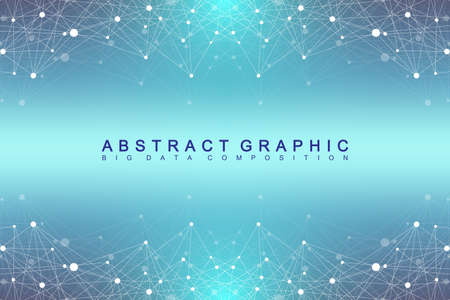 Illustration pour Geometric graphic background molecule and communication. Big data complex with compounds. Perspective backdrop. Minimal array. Digital data visualization. Scientific cybernetic vector illustration - image libre de droit