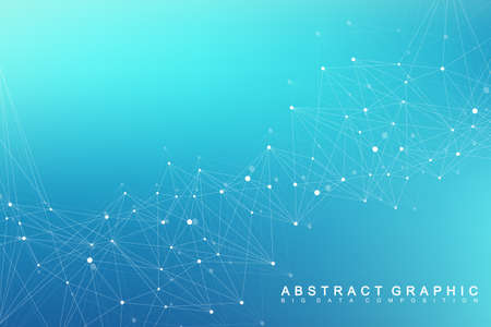 Illustration pour Geometric graphic background molecule and communication. Big data complex with compounds. Perspective backdrop. Minimal array. Digital data visualization. Scientific cybernetic vector illustration. - image libre de droit