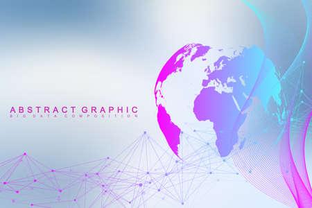 Illustration pour Big data complex world globe, Graphic abstract background communication. - image libre de droit