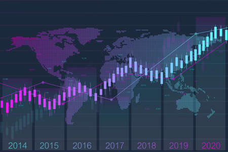 Illustration for Business candle stick graph chart of stock market investment trading with world map. Stock market and exchange. Stock market data. Trend of graph. Vector illustration for your design. - Royalty Free Image