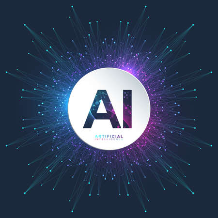 Illustration pour Artificial Intelligence Logo. Artificial Intelligence and Machine Learning Concept. Vector symbol AI. Neural networks and another modern technologies concepts. Technology sci-fi concept - image libre de droit