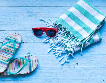 Foto de Summer fashion women swimsuit bikini, vacation concept, free space before text. Top view - Imagen libre de derechos