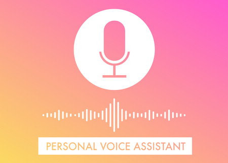 Ilustración de Personal Voice Assistant flat vector illustration, voice search recognition, website banner and icons on the gradient background - Imagen libre de derechos