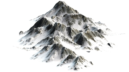 Photo pour Snowy Mountains - Mountain Peak - separated on white white background - image libre de droit