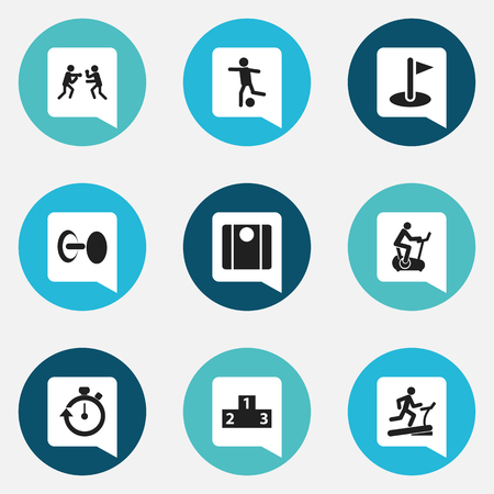 Set Of 9 Editable Fitness Icons. Includes Symbols Such As Balance, Strength, Training Bicycle And More. Can Be Used For Web, Mobile, UI And Infographic Design.
