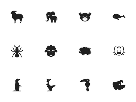 Set Of 12 Editable Zoology Icons. Includes Symbols Such As Sheep, Groundhog, Beast And More. Can Be Used For Web, Mobile, UI And Infographic Design.