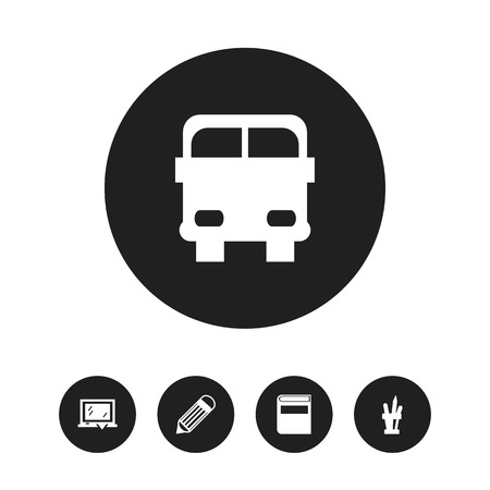 Foto de Set of 5 editable knowledge icons. Includes symbols such as blackboard, literature, transport vehicle and more. Can be used for web, mobile, UI and infographic design. - Imagen libre de derechos