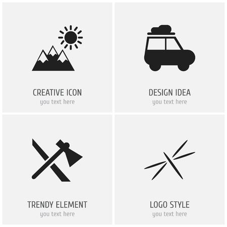 Foto de Set of 4 editable camping icons. Includes symbols such as dragonfly, caravan, pinnacle and more. Can be used for web, mobile, UI and infographic design. - Imagen libre de derechos