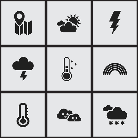 Foto de Set of 9 editable air icons. Includes symbols such as electrical discharge, weather after rain, lightning and more. Can be used for web, mobile, UI and infographic design. - Imagen libre de derechos