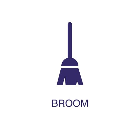Illustration pour Broom element in flat simple style on white background. Broom icon, with text name concept template - image libre de droit