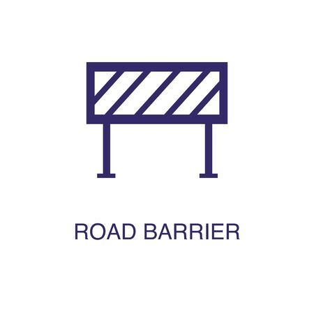 Ilustración de Road barrier element in flat simple style on white background. Road barrier icon, with text name concept template - Imagen libre de derechos