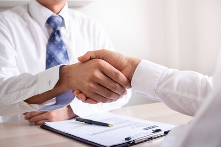 Photo for Businessmen join hands to recruit new employees to join the company work, agree to join. - Royalty Free Image