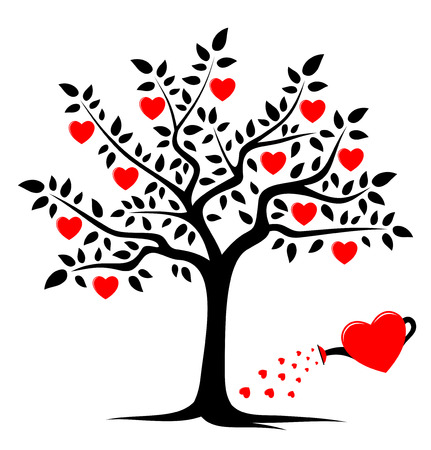 Ilustración de vector heart tree and heart watering can isolated on white background - Imagen libre de derechos