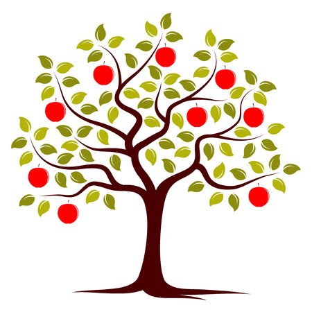 Illustration pour vector apple tree isolated on white background - image libre de droit